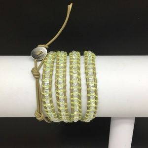 Lulu Dharma Green Leather Wrap Crystal Bracelet